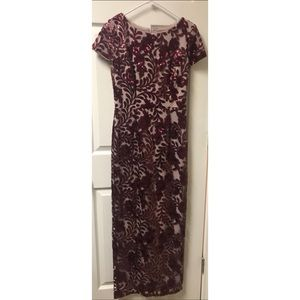 Betsy & Adam Wine/Nude Sequined Lace Column Gown